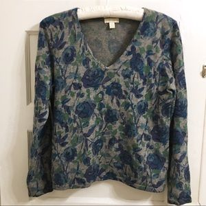 Charter Club 100% cashmere v neck floral sweater